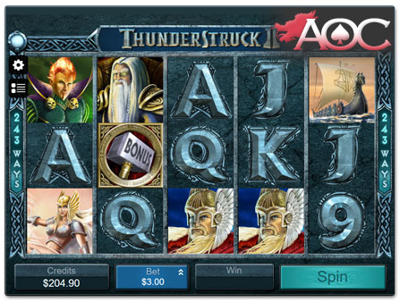 Microgaming Thunderstruck II slot machine
